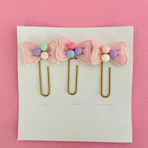 3 x Bow Planner Clips | Bow Paper Clip Set